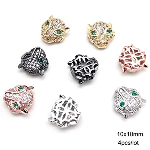 (Calvas 2-6pcs Antique Gold Silver Metal Beads Assorted Vintage Crown Helmet Skull Charms DIY Spacer Beads for Bracelet Jewelry Making - (Color: Leapord Head 10x10mm, Item Diameter: Rose Gold))