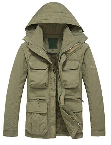 Review Yeokou Men's Outdoor Lightweight Quick Dry Windbreaker Hoodie Jacket Cargo Vest (Medium, Khaki)