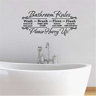 BIBITIME Bathroom Rules Wash between all body parts Brush tougue gums teeth Floss between every tooth Flush keep the toilet seat down Please Hurry Up Quotes Sticker Wall Decal