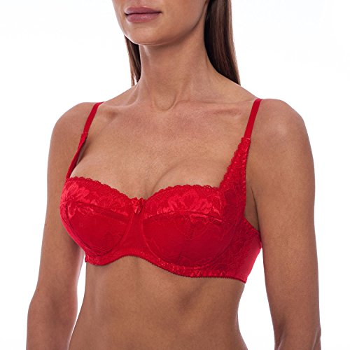 frugue Women's Sexy Push Up Balconette Lace Shelf Bra Red 36 C
