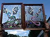 Dragon Stained Glass Window Art Sun Catcher set of two