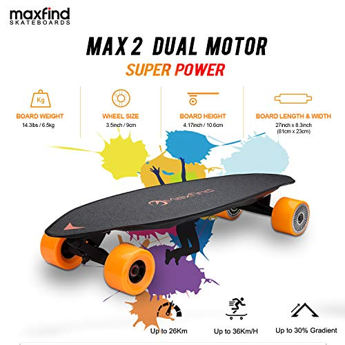 Maxfind Max-2 Series Electric Skateboard Range 1000w Dual Motor Wireless Remote Control 23 MPH Top Speed 16.2 Mile Perfect for Everyday Use