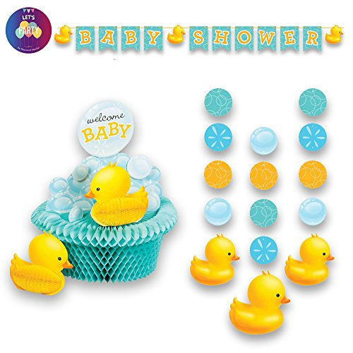 Rubber Ducky Baby Shower Decorations - Duck Bubble Bath Baby Shower Party Decorations Supplies Pack Includes: Centerpiece Jointed Banner and Hanging Cutouts