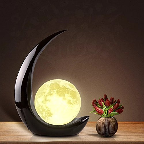 Moon Light - 3D Printing Moon - Stepless Dimmable - Moon Lamp Shade - Warm and White Touch Control Brightness with USB Charging - Moon Decor - Lunar Night Light with Wooden Mount - Moon Gifts 5.9 Inch