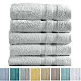 5-Pack Premium 100% Cotton Bath Towel Set (28 x 52 inch) Multipack For Home Spa Pool Gym Use. Quick-Drying and Extra Absorbent. Emelia Collection. (Mirage Grey)