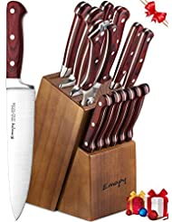 Knife Set, 15-Piece Kitchen Knife Set with Block Wooden, Manual Sharpening for Chef Knife Set, German Stainless Steel, Emojoy (15 Piece Knife Set)