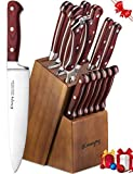 Knife Set, 15-Piece Kitchen Knife Set with Block Wooden, Manual Sharpening for Chef Knife Set, German Stainless Steel, Emojoy (15 Piece Knife Set)