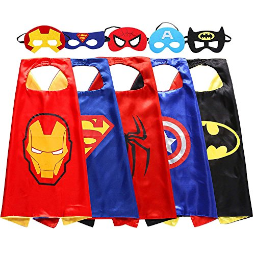 Hasaker Comics Cartoon Hero Holiday gift Dress Up Satin Cape with Felt Mask Costume 5pcs
