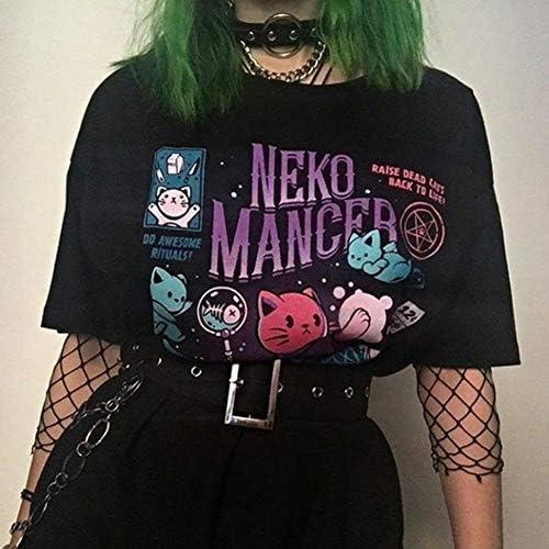 Queenromen Neko Mancer T-shirt damski, 3D, zabawny, kolorowy, koty z nadrukiem: Odzież