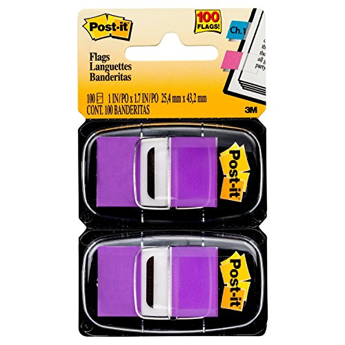 Post-it Standard Page Flags in Dispenser  1in Wide, Purple 100 Flags, 680-PU2 (3m It Dispenser Post Flag)