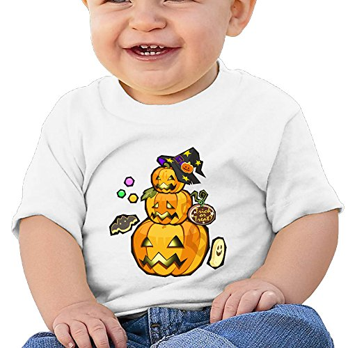 Halloween Pumpkin Customized Graphic Baby O-neck T-Shirt Cotton White Size 12 Months -