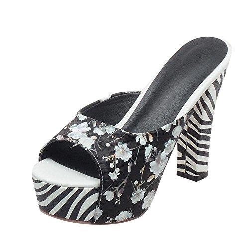 Carolbar Imprimé Floral Élégance Mode Zèbre Motif Peep Toe Plate-forme Chunky Haut Talon Sandales Pantoufles Noir