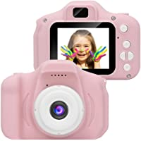 Kids Camera Gifts for 4-8 Year Old Girls, Shockproof Cameras Great Gift Mini Child Camcorder for little Girl With Soft Silicone Shell For Outdoor Play,Pink(16GB Memory Card no Included)