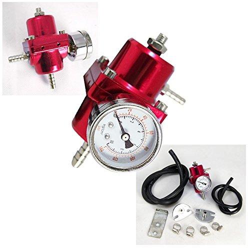Rev9Power Rev9_AC-007-RED; Fuel Pressure Regulator With Gauge(Red) by Rev9Power by Rev9Power