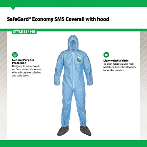 Lakeland SafeGard Economy SMS Coverall with Hood and Boots, Disposable, Elastic Cuff, 2X-Large, Blue (Case of 25) by Lakeland Industries Inc (Image #1)