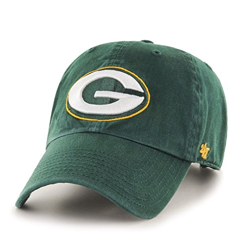 '47 NFL Green Bay Packers Clean Up Adjustable Hat, Dark Green, One Size (Green Bay Packers Apparel)