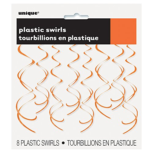 26 Plastic Hanging Swirl Orange Decorations, 8ct