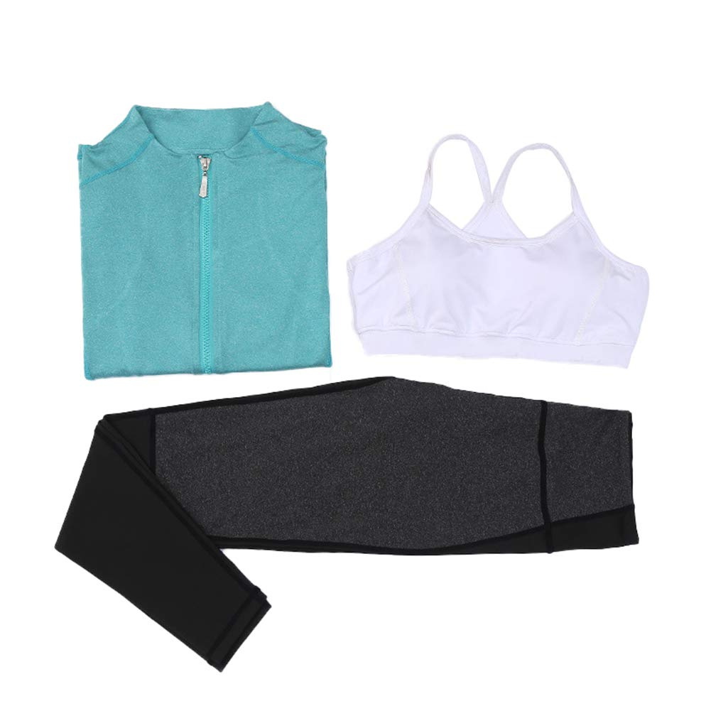 Green Fitness Yoga Suit Female, Casual Home Sports Jogging and QuickDrying Workout Clothes LongSleeved Jacket Shockproof Bra, High Waist Slimming Yoga Pants ThreePiece Suit