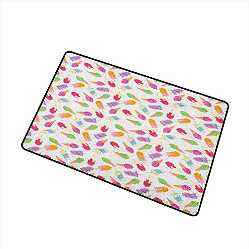 Wang Hai Chuan Ice Cream Universal Door mat Cartoon Style Cones with Vibrant Colored Creamy Scoops and Popsicles Sweet Tooth Door mat Floor Decoration W19.7 x L31.5 Inch Multicolor