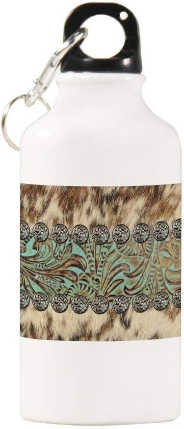 VINMEA - Botella de Agua Deportiva de Acero Inoxidable rústico de Piel de Vaca marrón Verde Azulado, con Herramienta de Estilo Occidental, con Clip de mosquetón, 20 oz