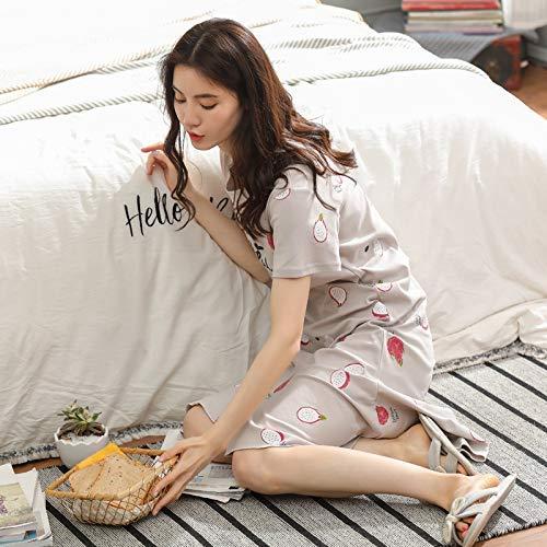 FERFERFERWON Nachthemd Paar Pyjamas Frauen Sommer Kurzarm Baumwolle koreanisch sexy Nachthemd Herren Baumwolle Volltonfarbe zu Hause Dienstanzug (Größe  XL-Female)