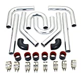 """Universal 2.5'' 63mm Intercooler Pipe Piping Polished Aluminum Kit With Silicone Hoses and Stainless Steel T-Clamps Black & Red DIY Kit 2-1/2"""""""