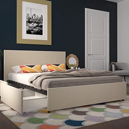 Novogratz Kelly Upholstered Storage, Ivory Linen, Queen Bed
