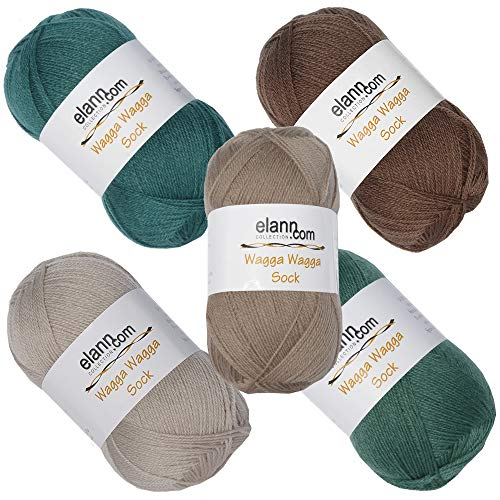 elann Wagga Wagga Sock Yarn | 5 Ball Bag | CP7 134 135 103 104 105