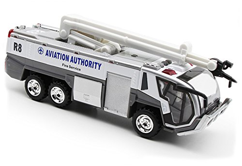 Diecast Airport - Ailejia Airport Diecast Fire Truck Engine Pullback Friction Toy Engineering vehicle fire truck model (white)