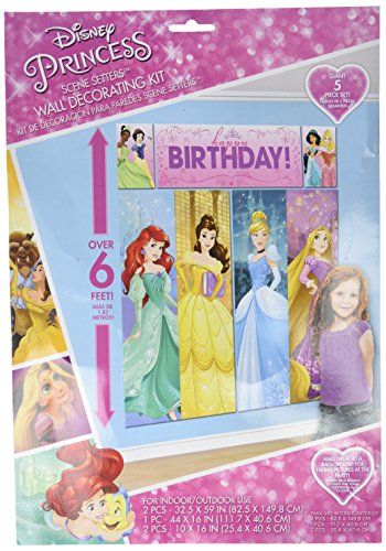 Amscan Disney Princess Dream Big Birthday Party Scene Setters Wall Decorating Kit (5 Piece), Multicolor, 59