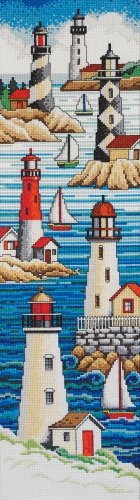 Cross Stitch Lighthouses - Janlynn Cross Stitch Kit, 21-Inch by 6-Inch, Lighthouses