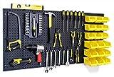 WallPeg Pegboard Kit - Peg board Panels Locking Peg Hooks Set – Workbench Organizer Tool Storage… Size & Bins Included