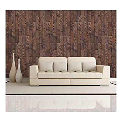 Vertical Rich Brown Vintage and Retro Wood Textured Paneling - Wall Mural, Removable Wallpaper, Home Decor - 100x144 inches