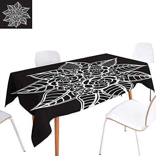 longbuyer Printed Tablecloth Hand Drawn Fantasy Flowers Coloring Page - Illustration Batik Abstract Adult Animal Markings Boho Rectangle/Oblong W 52