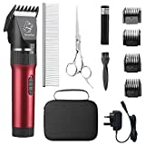 sminiker Professional Low Noise Pet Clippers Rechargeable Cordless Cat and Dog Clippers Dog Trimmer Professional Dog Shaver with Storage Bag for Cats Dogs and Other Animals,Pet Grooming Kit(Red)