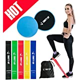 Thirty 48 Gliding Discs Core Sliders and 5 Exercise Resistance Bands | Strength, Stability, and Crossfit Training for Home, Gym, Travel | User Guide & Carry Bag