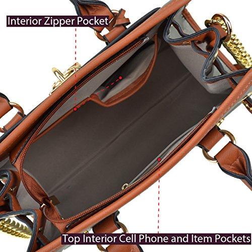 Dasein Women's Designer Padlock Belted Top Handle Satchel Handbag Purse Shoulder Bag With Matching Wallet (02-6892 Simple Color Pewter + Matching wallet) by Dasein (Image #6)