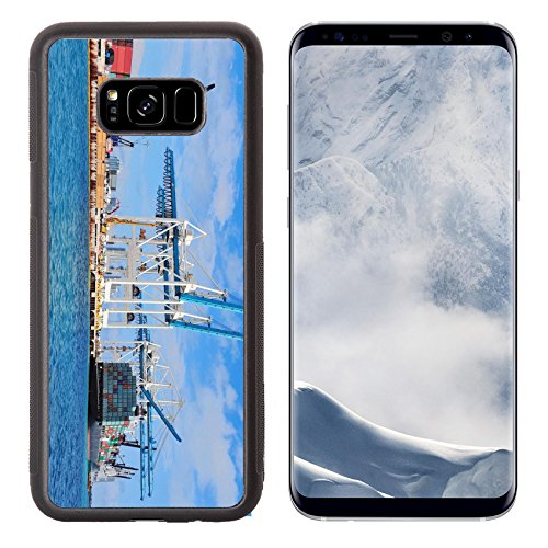 Liili Premium Samsung Galaxy S8 Plus Aluminum Backplate Bumper Snap Case Cargo ship at Miami harbor with crane and blue sky over sea IMAGE ID - Harbour Miami