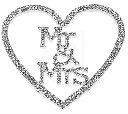 Mr&Mrs in a Heart, Wedding Vow, Anniversary, Bridal Shower Cake Topper, Crystal Rhinestones on Silver Metal, Party Decorations, (Cute Halloween Cakes Birthday)