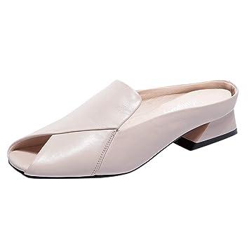 LILICAT✈✈ Moda 2019 Nueva Baotou para Mujer Sandalias Gruesas con talón pez Boca Zapatillas Mujer Sandalias Antideslizantes Sandalias Casual ...