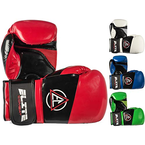Elite Leather Boxing Gloves - Elite Combat Boxing Kickboxing Gloves (Pro Style) Adult and Youth Fight Gear | Sparring, Training, and Heavy Bag Use | Adjustable Hook and Loop Wrist | Strong PU Leather