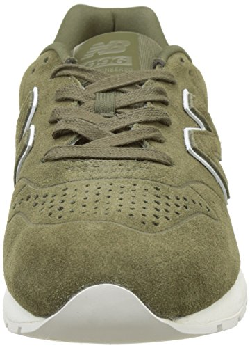 New Balance Men 996 Sneaker In Pelle, Grigio Multicolore (kaki)