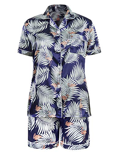 (Women Floral Print Satin Button Short Sleeve Top and Shorts Set Sleepwear(Blue,M)