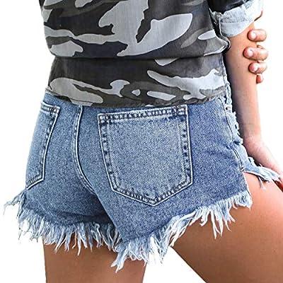 vanberfia Women's Strechy Distressed Denim Shorts at Women's Clothing store
