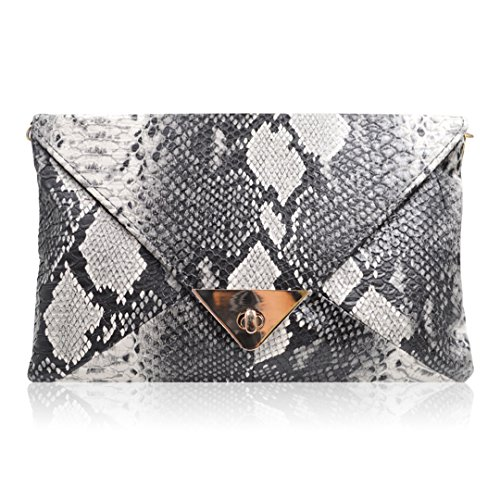 Serpentine Clutch - Monique Women Serpentine Pattern PU Leather Evening Clutch Envelope Bag Mini Chain Cross body Bag Shoulder Bag