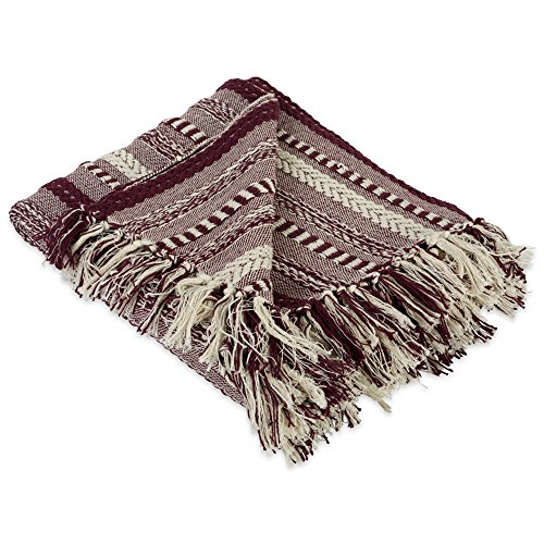 (DII Farmhouse Cotton Stripe Blanket Throw with Fringe For Chair, Couch, Picnic, Camping, Beach, & Everyday Use , 50 x 60