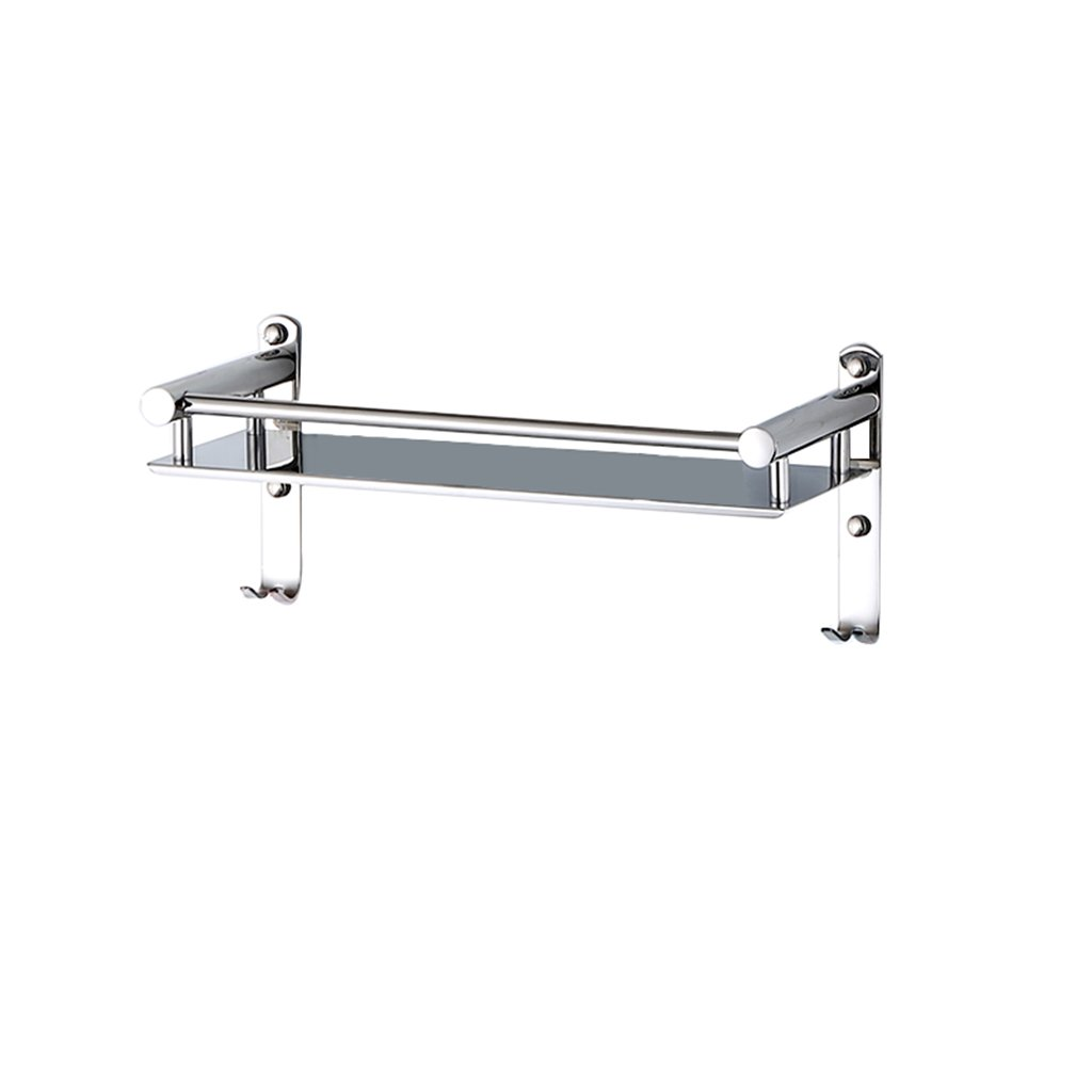 304 Stainless Steel Bathroom Shelf With Hook Shower Stand Bathroom Bathroom Wall Bathroom Metal Pendant 1 Layer (Size : 30cm)