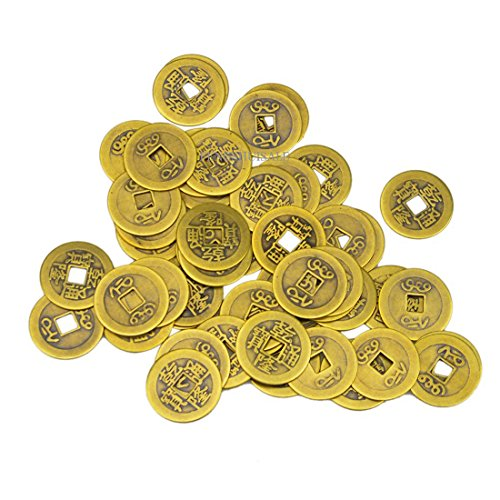 50 Large Brass Chinese I Ching Coins for Feng Shui (1.1