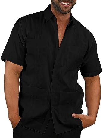 Enjoybuy Camisa de Manga Corta para Hombre, Estilo Cubano, Estilo Guayabera, de Lino, Bordada, Casual, con Botones, Holgada, para Playa - Negro - Large: Amazon.es: Ropa y accesorios