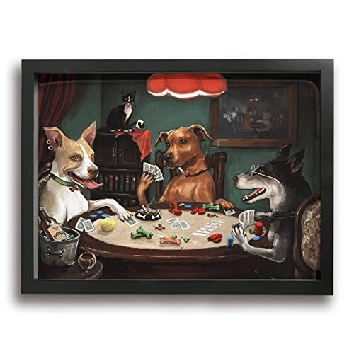 Baker Back Painting Photo Black Picture Frame Dog Play Poker Prints Home Decoration Wooden Frame Tabletop Display and Wall Mounting Easy to Hang